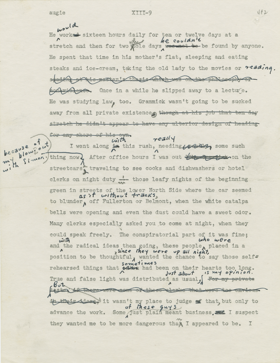 A page from the original manuscript of The Adventures of Augie March, by Saul Bellow, courtesy of the Saul Bellow Papers and Addenda, [Series B, Box 3, Folder 18], Special Collections Research Center, University of Chicago Library.